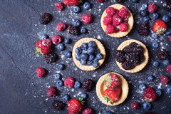 Berries : raspberries , blueberries , blackberries , strawberrie. S. Fresh summer berries in a tartlets on a stone background Royalty Free Stock Images