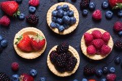 Berries : raspberries , blueberries , blackberries , strawberrie. S. Fresh summer berries in a tartlets on a stone background Royalty Free Stock Image