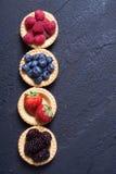 Berries : raspberries , blueberries , blackberries , strawberrie. S. Fresh summer berries in a tartlets on a stone background Stock Image