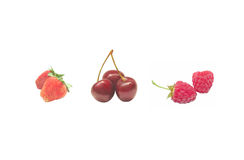 Berries. Raspberries, cherries and strawberries on a white background Stock Photo