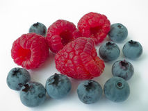 Berries of a raspberry and blueberry Royalty Free Stock Image