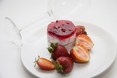 Berries and raspberry cheesecake Stock Photos