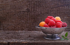 Berries red and yellow raspberries. In a metal bowl on a dark wooden background stock photography