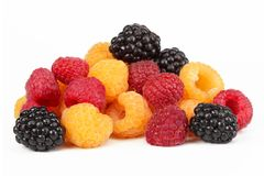 Berries ripe blackberry black, raspberries Stock Photo