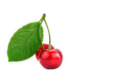 Berries ripe cherry on a white background. Royalty Free Stock Photos