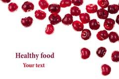 Berries ripe fresh cherries on a white background. Isolated. Cherry background. Macro. Decorative frame. Stock Photo