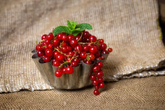 Berries in sackcloth. Red berries in a sack in a cupcake form royalty free stock photos