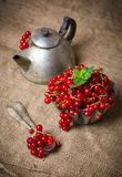 Berries in sackcloth. Red berries in a sack in a cupcake form stock photography