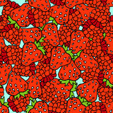 Berries seamless pattern. Blue background. Juicy berries background stock illustration