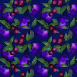 Berries seamless pattern design texture navy background Royalty Free Stock Photo