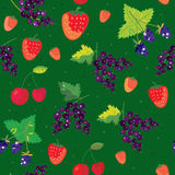 Berries seamless pattern - strawberry, blackberry, Stock Images