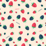 Berries seamless pattern. Vector illustration for natural dessert design. Endless texture can be used for fills, web page background, surface. Elements: berry Stock Photo