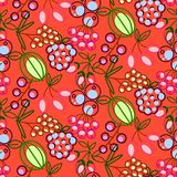 Berries seamless vector pattern. Food outline berry icons repeat wrap bright red texture. vector illustration