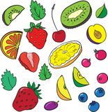 Berries and slices of fruits Royalty Free Stock Photography
