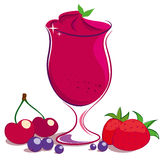 Berries Smoothie. Illustrations of berries and a glass of berries smoothie Royalty Free Stock Images