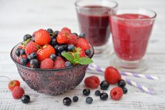 Berries and smoothies Stock Photography