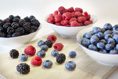 Berries. Some sort of berries: blueberries, blackberries, raspberries Stock Images