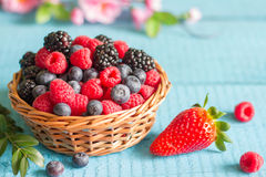 Berries spring fruits on blue wooden boards abstract still life Royalty Free Stock Photos