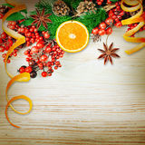 Berries and spruce branch with cones and oranges Stock Photos