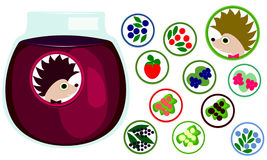 Free Berries Stickers Collection. Hedgehog With Bow Tie, Label. Stock Photography - 75153822
