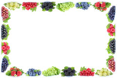 Berries strawberries blueberries grapes frame berry fruits copys Royalty Free Stock Image