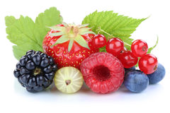 Berries strawberries blueberries red currant berry fresh fruits. Leaves isolated on a white background Stock Image