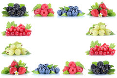 Berries strawberries blueberries red currant grapes berry fruits. Copyspace copy space isolated on a white background stock photos