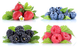 Berries strawberries collection blueberries berry fruits isolate Royalty Free Stock Photos