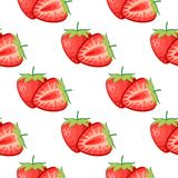 Berries strawberry with leaves seamless pattern royalty free stock photography