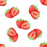 Berries strawberry with leaves seamless pattern stock photo