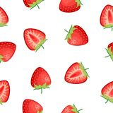 Berries strawberry with leaves seamless pattern stock image