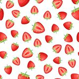 Berries strawberry with leaves seamless pattern royalty free stock photos