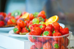 Berries of sweet strawberry in a plastic tray Royalty Free Stock Image