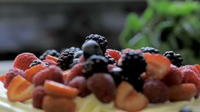 Berries on the top of cake.  stock footage