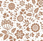 Berries and twigs, decorative background, seamless, white, brown, vector. Royalty Free Stock Images