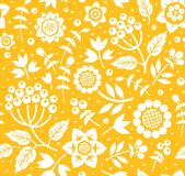 Berries and twigs, decorative background, seamless, yellow, vector. Stock Photos