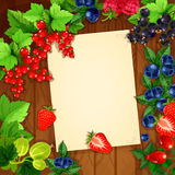 Berries vector recipe or message note blank form. Message blank page note design of berries on wooden background. Vector bunches of strawberry, cherry and Royalty Free Stock Photo