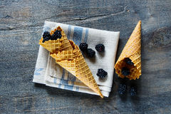 Berries in waffle cones Royalty Free Stock Photography