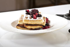 Berries Waffles Stock Photography