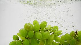 Bunch of green grapes falling into water with bubbles in slow motion. Berries on white background. Berries on white background. Bunch of green grapes falling stock video