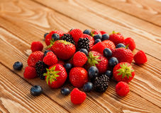 Berries on Wooden Background. Royalty Free Stock Image