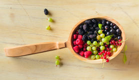 Berries. On Wooden Background. Summer Organic Berry over Wood. Agriculture, Gardening, Harvest Concept royalty free stock photo