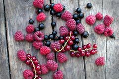 Berries on wooden background Royalty Free Stock Photos