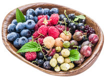 Berries in the wooden bowl. Royalty Free Stock Images