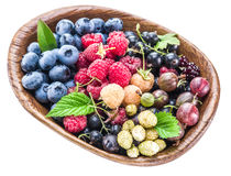Berries in the wooden bowl on a white. Stock Image