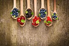 Berries in wooden spoons Stock Photo