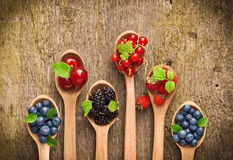 Berries in wooden spoons Stock Photography