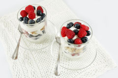 Berries, yogurt and cookies parfaits Stock Photography