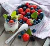 Berries and yogurt Royalty Free Stock Image