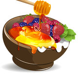 Berries yogurt and honey Stock Photos